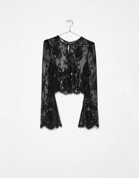 Bershka Black Lace crop top