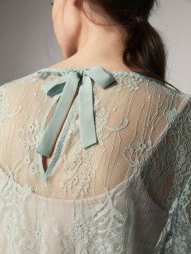 water green Massimo Dutti lace shirt